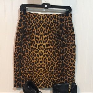 Vintage CACHÉ Leopard Quilted Mini Pencil Skirt